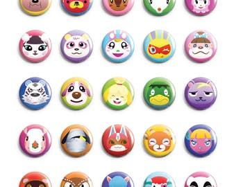 Animal Crossing Pins 34 Designs (Tom Nook, Blathers, Cookie, Isabelle, Lucky, Kapp'n, Reese, KK Slider, Cyrus, Beau, Pietro, Static, & More)
