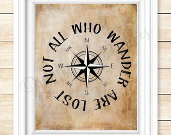 Not all who wander are lost, printable wall art, compass on, adventure quote, gift for friend, top selling quote, typography, adventurer