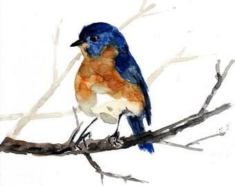 Blue bird watercolor painting, original watercolor, bird wall decor