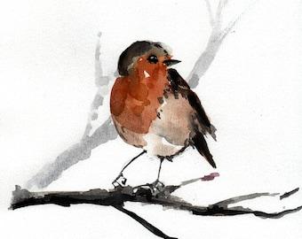 Robin bird watercolor painting, watercolor bird art, bird wall art, original artwork