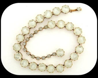 Rare Vintage Signed FENICHEL Frosted White Ice Rhinestone Choker NECKLACE C1940