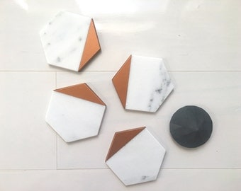 Hexagon Marble Coasters. Set of 4, Set of 6. Carrara White Copper Painted Honed Marble. Natural Stone Coasters. Geometric Coasters