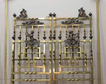Antique Pair of Italian Twin Beds in Bronze and Brass with Large Cherubs #6626