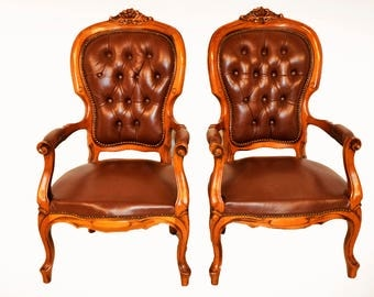 French Provincial Pair of Leather Arm Chairs, Tufted Back, Walnut #7358