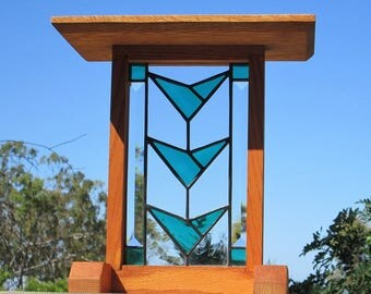 Craftsman Inspired Furniture Stained Glass|Beveled Glass Solid Oak Plant Stand|Display Pedestal