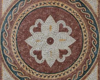Ancient Lotus Geometrical Floor Design Marble Mosaic GEO2213