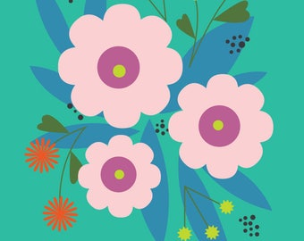 "Wall Art Print, ""April Floral"", Floral Print, Plant Art, Foliage Print, Modern Wall Art, Pastel Print"
