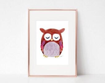 Nursery Owl Print, Nursery watercolor, Nursery prints, Woodland Nursery, Nursery Wall Art, Nursery Art, Nursery Decor Animals