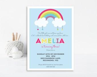 Rainbow Invitation, Rainbow Party, Rainbow Birthday, Birthday Invitation, Rainbow Invite, Printable Invitation, Rainbow, First Birthday