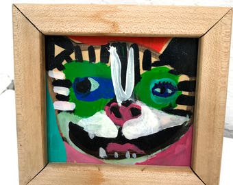 Vintage Tiger Kitty Folk Art Outsider Art Colorful Painting