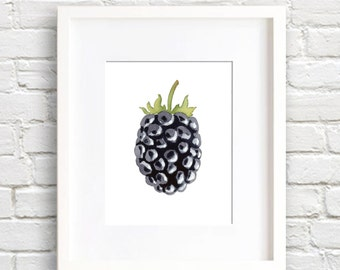 Blackberry - Art Print - Kitchen Art - Wall Decor - Watercolor Painting