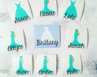 Bridal Party Decals / Bridesmaid Dresses Decal - 16 options