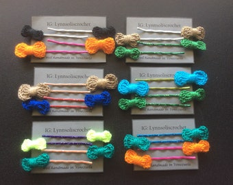 Set of 4 Crochet lace bobby pin. Crochet hair pin