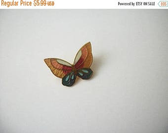 ON SALE Vintage Smaller Cloisonne Butterfly Pin 40217