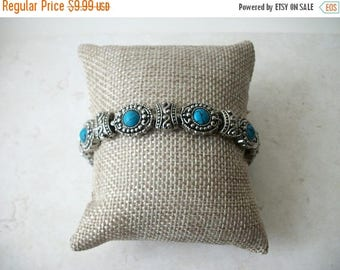 ON SALE Vintage CHINA Stamped Heavier Southwestern Inspired Silver Turquoise Bracelet 41517