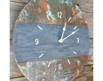 "Round Handcrafted Oxidized Copper and Reclaimed Wood Wall Clock 15""x15"""