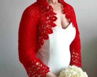 Red bolero, crochet bolero shrug, bridal jacket, wedding cardigan, knitted red shrug, lacy shrug, 3/4 sleeves bolero, fast shipping