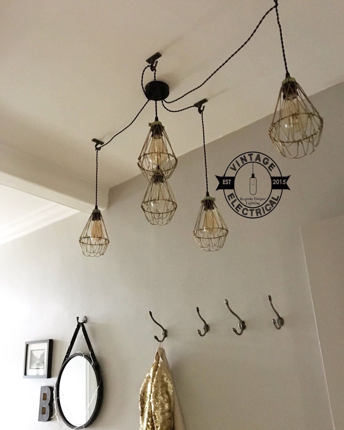 The Cantley 5 X Cage Pendant Hanging Drop Lights Ceiling