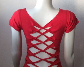 Inspired by Adam Saaks, Womans red cut up t-shirt.