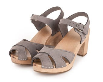 Clog | Swedish Clogs | Shoes | Sandals | clog sandals | wooden | women clogs | wood | leather  |high heel |  leather clogs | Gray