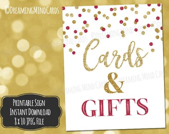 Printable Cards and Gifts Sign 8x10 Glamorous Gold Burgundy Confetti Pattern Wedding Bridal Shower Anniversary Baby Shower Digital Download