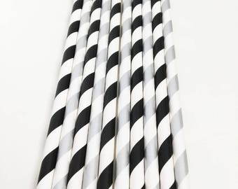 Black and Silver Paper party straws, graduation, stag bachelor party, Hen Do, Birthday party decorations, Black and White Theme Party