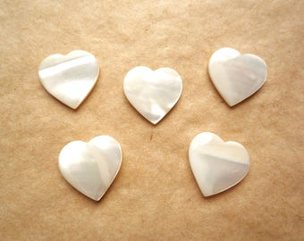 10 half drilled mother of pearl heart, 15 mm white shell heart beads