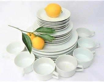 28 White Dinner / Salad Plates, Cup Saucer Set for Seven - Vintage Plain All White Color Porcelain Ceramic, Made in Japan, New Moon Serves 7