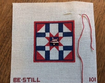 Patriotic Star Quilt Block Needlepoint Canvas