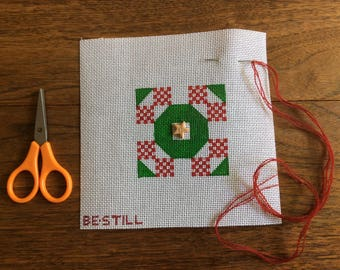 Holiday Star: a hand-painted canvas to needlepoint