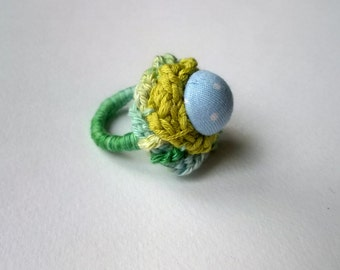 Colorful crochet ring with button - blue, green, dots