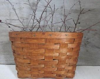 Vintage Woven Splint Basket Basket Farmhouse Decor Rustic Storage Display
