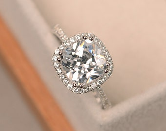 Cubic zirconia ring, cushion cut, engagement ring, halo ring, sterling silver