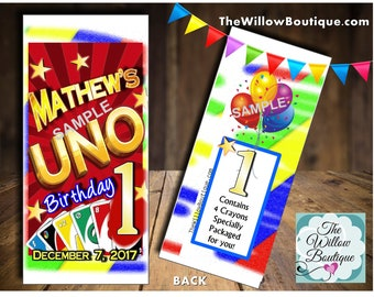 Personalized UNO first Birthday Party Crayon Box Loot Favors