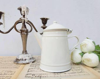 French Coffee Filter white / French enamelware / Cottage Shabby chic Kitchen /Farmhouse decor / White enamelware / Tea pot/ Cottage Kitchen
