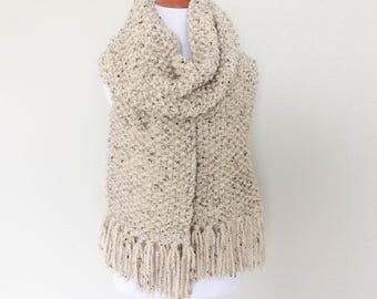 Chunky Knit Scarf, Knitted Scarf, Long Fringe Scarf, Neutral Scarf, Oatmeal Scarf