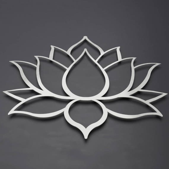 Brushed lotus flower metal wall art lotus metal art lotus for Metal flower wall art