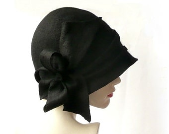 Millinery Black Hat,Black Felted Hat,Cloche Hat, Black cloche hat, 1920 Hat,Art Hat, Cloche hat,Millinery cloche,Millinery hat,Unique Hat