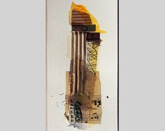 """Recycling art """"micro-cosmos 18""""(abstrakte Kunst,individuelles Geschenk,Wandbild,Mischtechnik,Papierkunst,Mixed Media,schmales Hochformat)"""