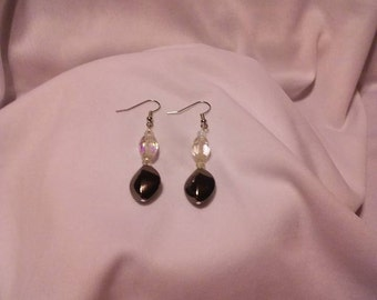 Black Crystal Dangle Earrings