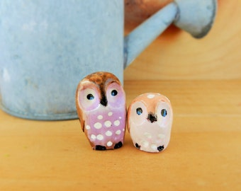 two tiny baby owls polymer clay owl totems cute figurines