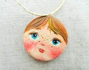air dry clay ornament pendant with cute face ooak ornament