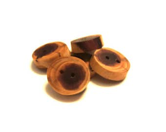 4 cedar wood buttons, wood buttons for knitting, crochet, sewing