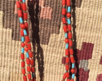 Vintage Native American Indian turquoise and coral necklace, Santo Domingo turquoise and coral necklace, multi strand beaded necklace