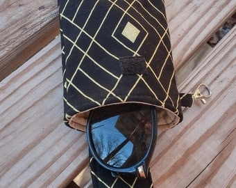 Eye Glass Case, Phone Case, Clip on, Black and Gold, Sun Glasses Case