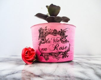 Pink gifts idea - French gifts - Pink decor - Pink planter - Gift ideas for girlfriend - Gifts ideas for her - French decor- Indoor planter