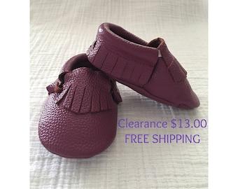 Purple Leather Moccasins