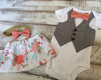Boy Girl Twin Outfits- Brother Sister Coordinating Outfits - Sibling Matching - Coral Mint and Gold Baby Skirt with Headband- Toddler Vest