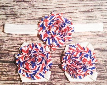 4th of July Headband Set / 4th of July Barefoot Sandals / Red White and Blue Headband and Barefoot Sandals / Headband Set / Baby Bows /