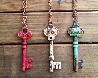 LOVE, WISH, DREAMS  Bohemian Engraved Key Pendants